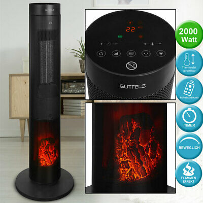 Column heating fan remote control campfire glow effect oscillating LED display
