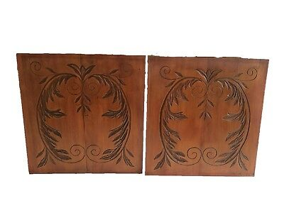 Pair of Antique French Hand Carved Panels