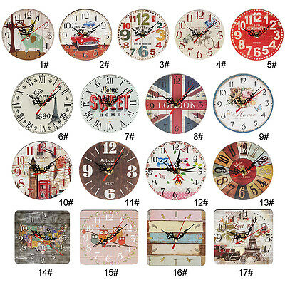 Artistic Silent Creative European Style Round Antique Wooden Home Wall Clock U8