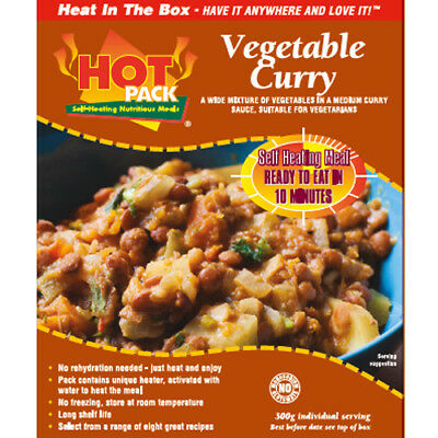 HOT PACK SELF HEATING MEAL IN BOX VEGETABLE CURRY Pack of 12