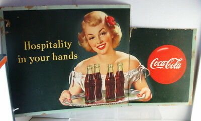 Original 1949 Hospitality In Your Hands Coca Cola Cardboard Poster