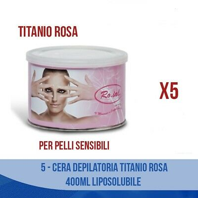 5 Pcs Cera Depilatoria Titanio Rosa 400Ml  Liposolubile Ceretta Depilazione