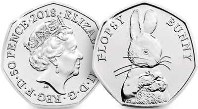 New Flopsy Bunny 50p Uncirculated Beatrix Potter 2018 coin Christmas Gift XMAS