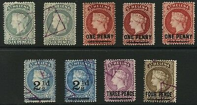 ST HELENA QV 9 stamps UNCHECKED TYPES MINT + USED