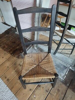Vintage Ladder Back Chair With Whicker Seat