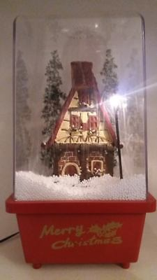 Electric Musical Vintage Christmas Village Snow Scene in Dome