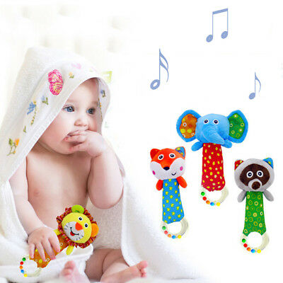 Newborn Plush Cartoon Animal Hand Bells Baby Toys Rattle Ring Bell Doll Z
