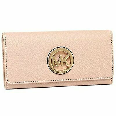 8b057eb21e28c2 Michael Kors MK Fulton Flap Continental Wallet Clutch Signature Or Leather  New