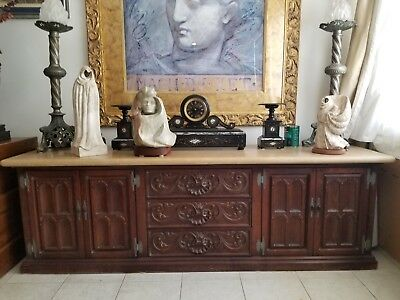 Carved solid Wood Spanish Revival Sideboard with Limestone Top