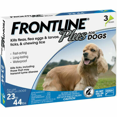 Merial Frontline PLUS Blue 3 Pack For Dogs 23 - 44 lb NO BOX!!!