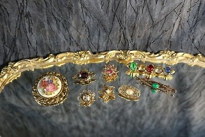 Lot of 8 Vintage-Now Brooches/Pins Victorian, Small Size, Bar, Rhinestones, GT