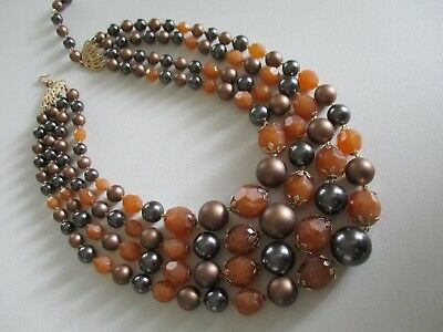 Vintage Amber Bronze Gray Multistrand Bead Necklace Four Strands ~ Fall