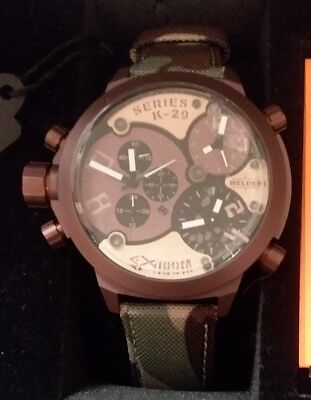 NEW Welder by U-Boat Triple Time Zone Chronograph Camouflage Watch w/Box, Manual