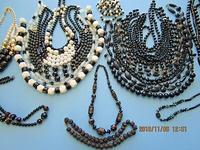 Vintage Lot of Beaded Necklaces 22 Black, & Black White Beads Several Glass