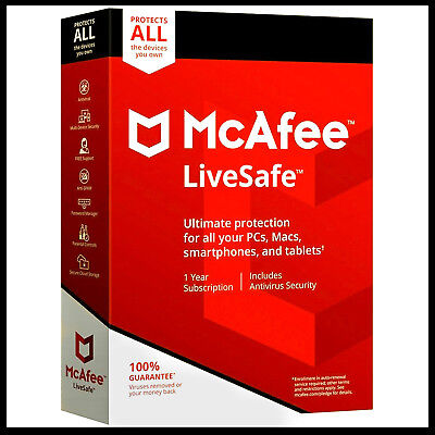McAfee LiveSafe UNLIMITED DEVICES 2019 1 YEAR License PC MAC IOS -(Key Code)