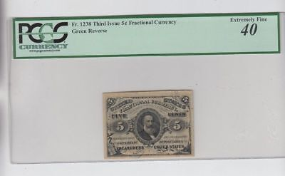 5 Cent Third Issue Fractional Currency Note Paper Bill - PCGS EF 40