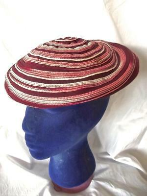 Vintage Old 60s Burgundy Red Swirl Stripe Beret Funky Shabby Chic  Hat