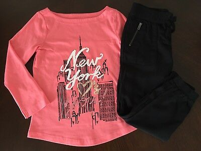 NWT Gymboree Girl Kitty In Pink Coral New York Tee /Black Pants Outfit 4 5 6