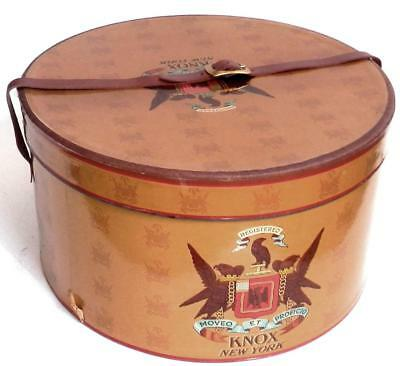 vintage 1940-50s KNOX New York men's GLOSSY OVAL HAT BOX with LEATHER STRAP