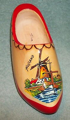 HOLLAND Dutch Windmill Painted Wooden Shoe Wall Pocket the Netherlands