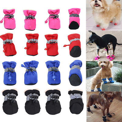 4pcs Waterproof Winter Pet Shoes Anti-slip Rain Boots Snow Warm Dogs Puppy Socks