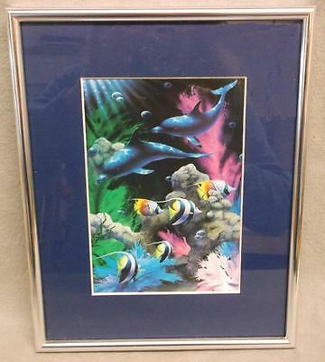 Print of tropical fish and dolphins in ocean, bright colors, framed 8x10