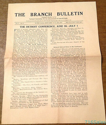 1921 NAACP Branch Bulletin News, Detroit Conference, Birth of a Nation, Jim Crow