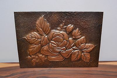 Gorgeous Large Mid Century Vintage Beaten Copper, Floral Relief Wall Art Hanging