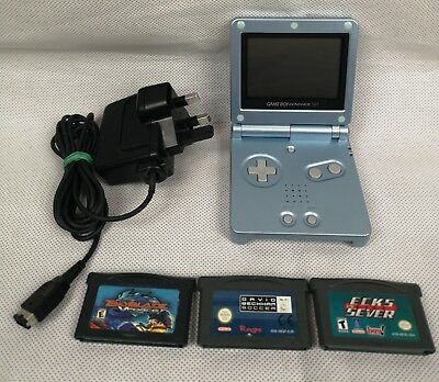 Nintendo Gameboy Advance Sp Light Blue Silver With Charger 3