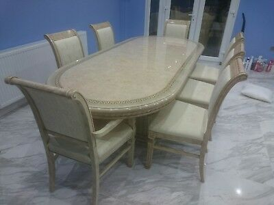 Dinning table And 8 Chairs Beige Marble laminate