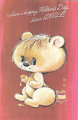happy fathers day uncle vintage 1970s greeting card cute honey bear