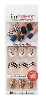 Kiss Impress Press-On Nails One-Step Gel Manicure Christmas Designs Select 1