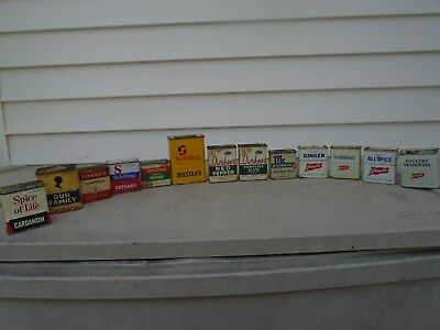 Vintage Lot Of 13 Spice Tins. Schilling, French's, Durkee's, McCormick, Others