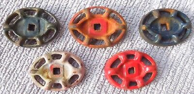 Five Oval Vintage Steampunk Cast Iron Water Valve Handles