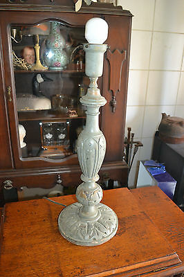 Vtg Antique Victorian distressed Hand Carved Wood Table Lamp