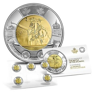 75th Anniversary of the Battle of the Atlantic Coin $10 Pack 2016 Toonie Sealed