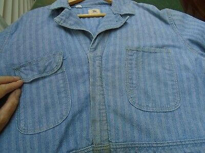 Vintage Sanforized Blue Bell Coveralls 44 Short Herringbone Blue Prentice Zipper