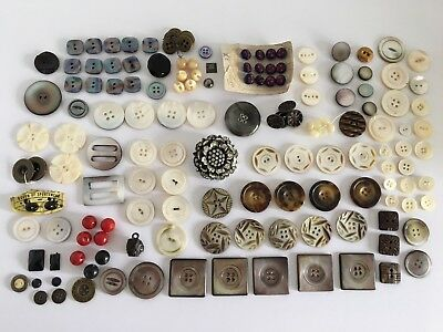 Mixed Lot of Vintage Buttons Mother of Pearl Abalone Carved Bakelite Rhinestone