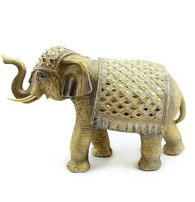 "Feng Shui 9""(H) Elegant Elephant Trunk Statue Wealth Lucky Figurine Home Decor"