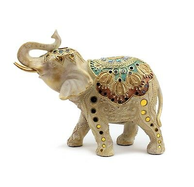 "9""(H) Elegant Elephant Trunk Statue Wealth Lucky Figurine Home Decor Feng Shui"