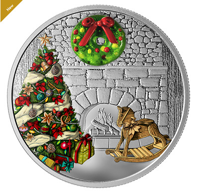 1 oz. Pure Silver Coloured Coin - Murano Holiday Wreath - Mintage 5,000 (2019)