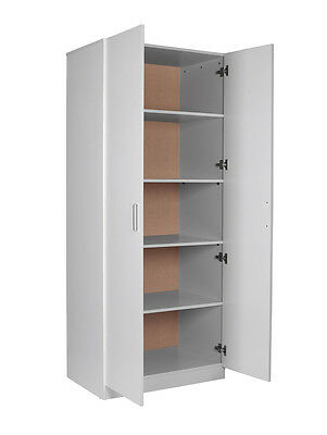 Pick Up Discount! Big Size 2 Doors 5 Shelves Pantry Wardrobe/Cupboard in White