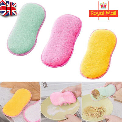 6pcs Kitchen Cleaning Scouring Pads Double Sided Antibacterial Scrubbing Sponges