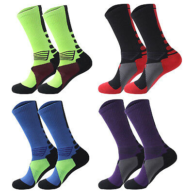 4 pack Men's Crew Socks Basketball Cushioned Dri-Fit Athletic Compression Sport