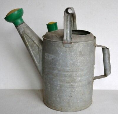 Vintage GALVANIZED Metal WATERING Sprinkling CAN w/ Green Yellow Heads 8 Quarts