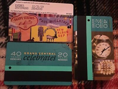 NYC Metrocard New Grand Central And Paul McCartney New Empty Cards Rare Collecti