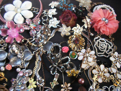 A Lot Of Vintage/now Costume Jewelry A Spring Garden Flowers Butterflies More