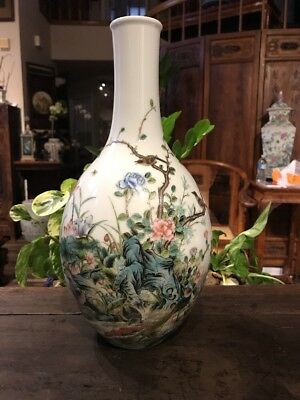Estate Old Chinese Antique yongzhen Family Rose Porcelain Vase Qing Asian China