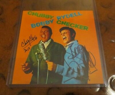 Chubby Checker & Bobby Rydell pop singer dual signed autographed photo teen idol