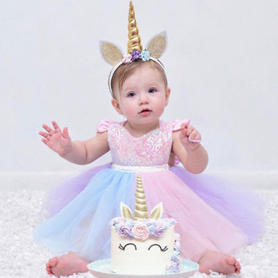 Unicorn 1st Birthday Costume Outfit Rainbow Tutu Romper Dress For Baby Girl Xmas